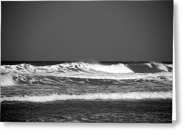 Waves 2 In Bw Greeting Card