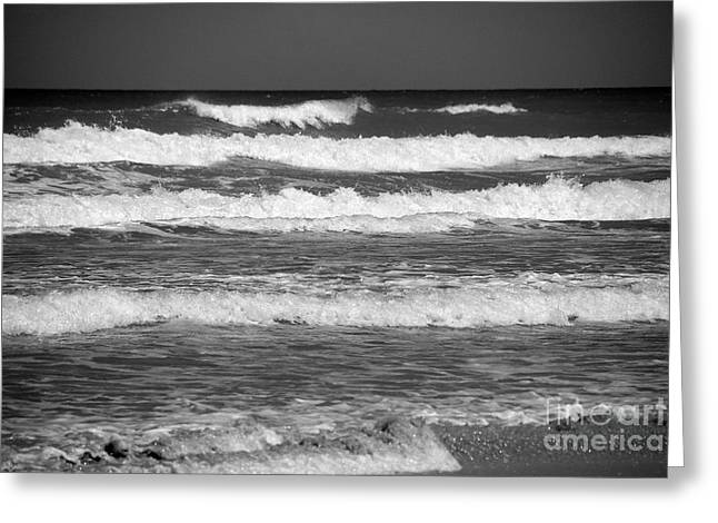 Waves 3 In Bw Greeting Card by Susanne Van Hulst