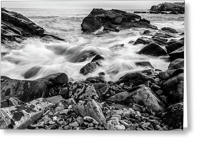 Waves Against A Rocky Shore In Bw Greeting Card
