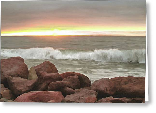 Waves And Boulders Greeting Card by Lola VJ
