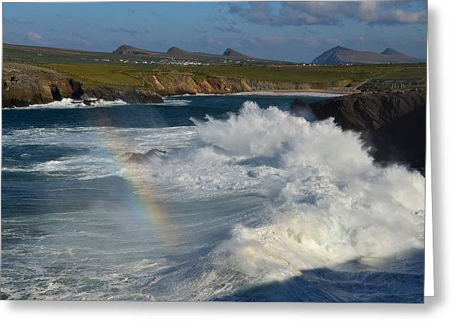 Waves And Rainbow At Clogher Greeting Card