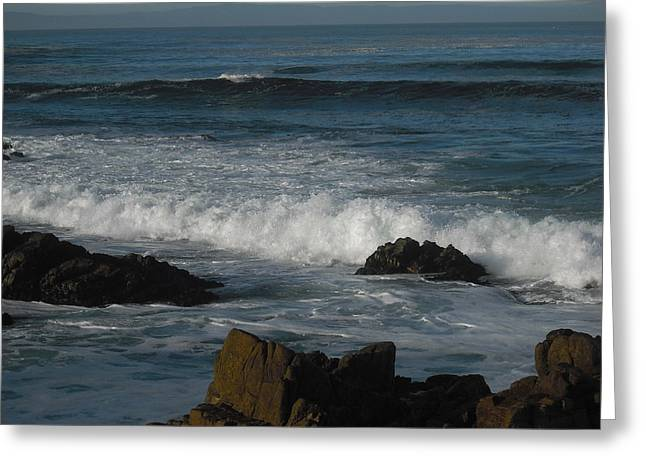 Waves And Rocks Greeting Card by Sharon McKeegan