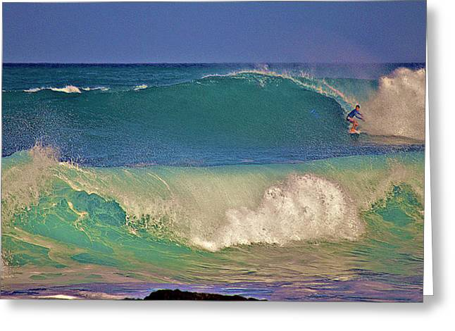 Waves And Surfer In Morning Light 2 Greeting Card