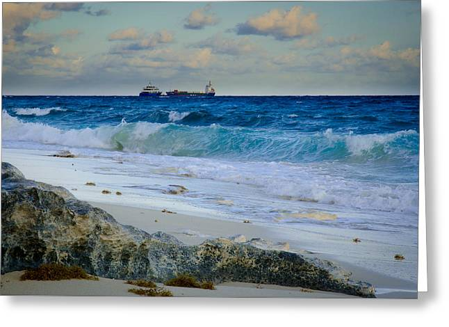 Waves And Tankers Greeting Card