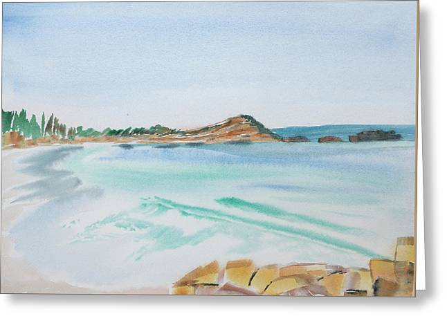 Waves Arriving Ashore In A Tasmanian East Coast Bay Greeting Card
