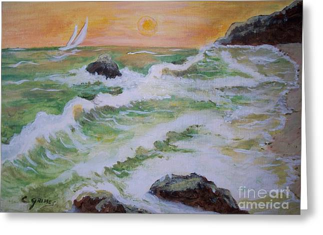 Waves Ashore Greeting Card by Carol Grimes