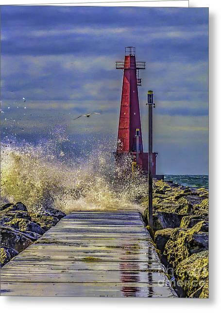 Waves At Muskegon South Breakwater Greeting Card