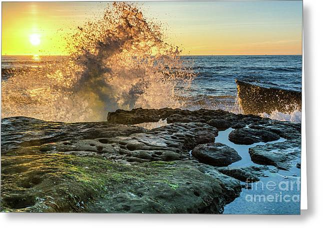 Waves At Sunset Cliffs Greeting Card