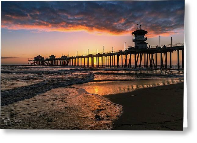 Waves At Sunset Greeting Card