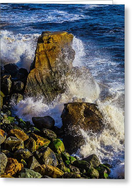Waves Battering Rocks Greeting Card
