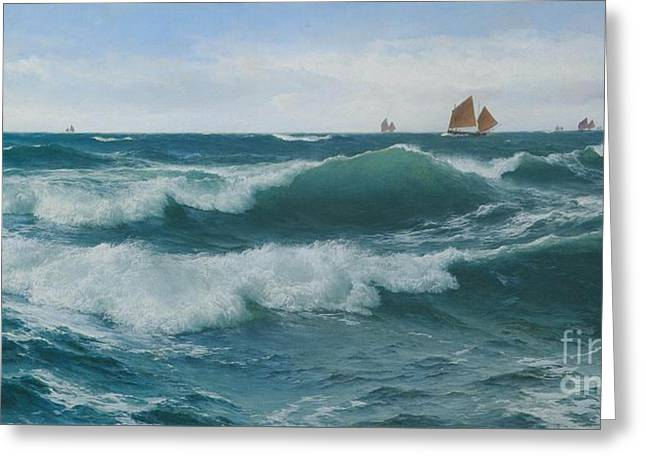 Waves Breaking In Shallow Waters Greeting Card by Celestial Images