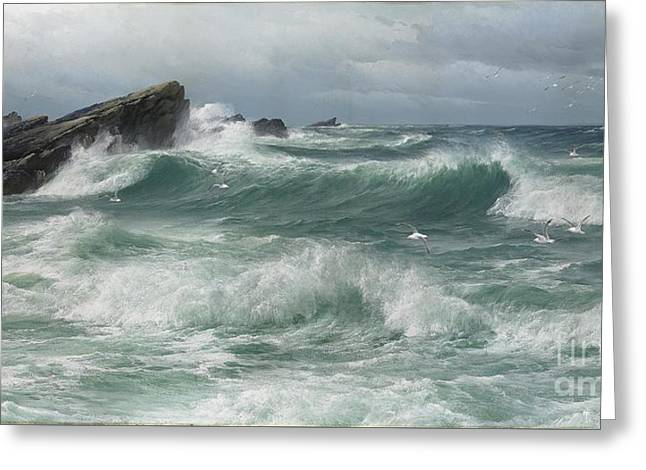 Waves Breaking On A Rocky Coast Greeting Card by Celestial Images