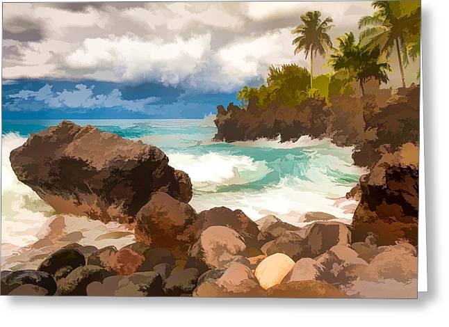 Waves Crashing Along Lava Rocks On Tropical Island Greeting Card by Lanjee Chee
