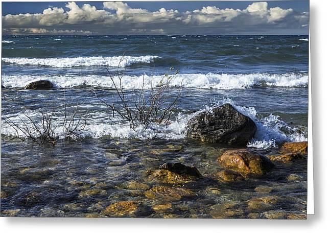 Waves Crashing Ashore At Northport Point On Lake Michigan Greeting Card