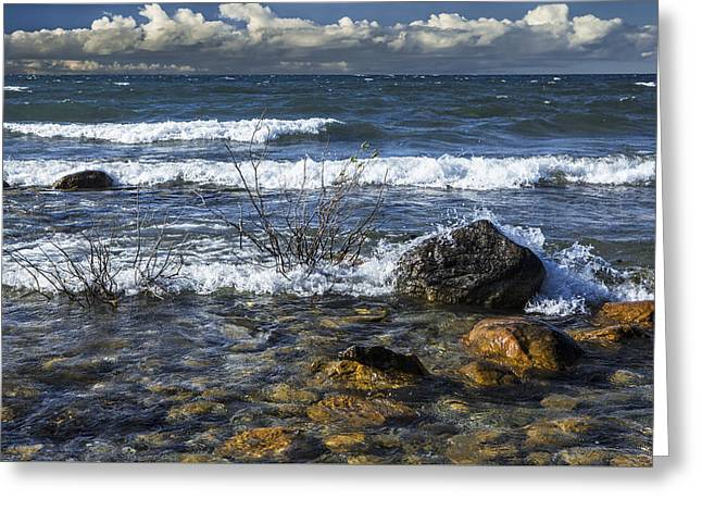 Waves Crashing Ashore At Northport Point On Lake Michigan Greeting Card