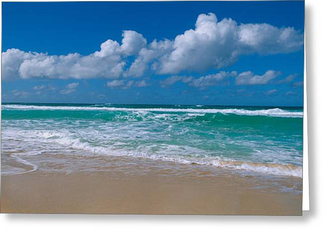 Waves Crashing On The Beach, Sunset Greeting Card by Panoramic Images