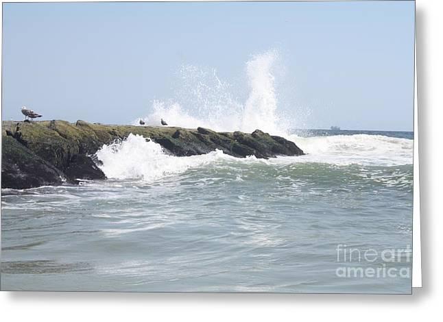 Waves Crashing Onto Long Beach Jetty Greeting Card by John Telfer