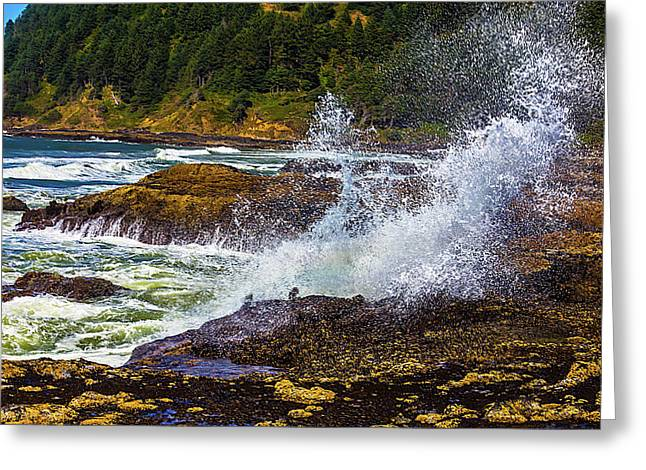 Waves Crashing Oregon Coast Greeting Card