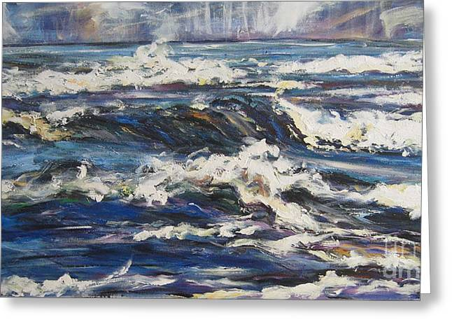 Greeting Card featuring the painting Waves by Debora Cardaci