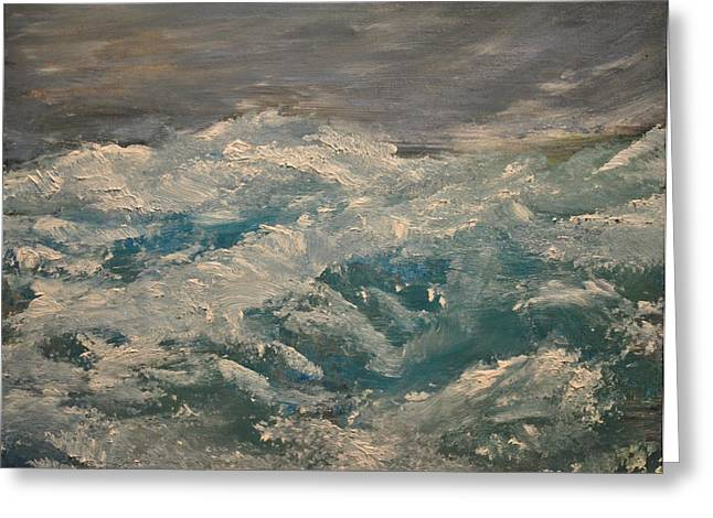Greeting Card featuring the painting Waves by Evelina Popilian
