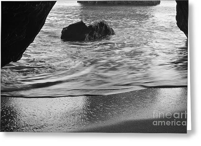 Waves From The Cave In Monochrome Greeting Card