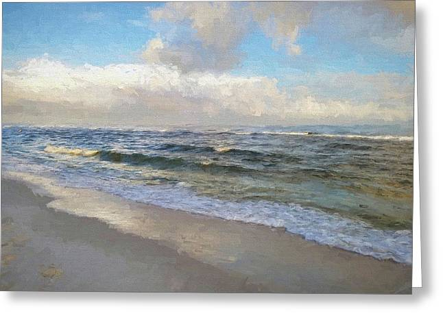 Waves In South Walton Greeting Card by Cathy Findley