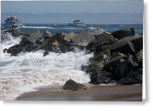 waves lapping at the rocks II Greeting Card by Rosanne Bartlett