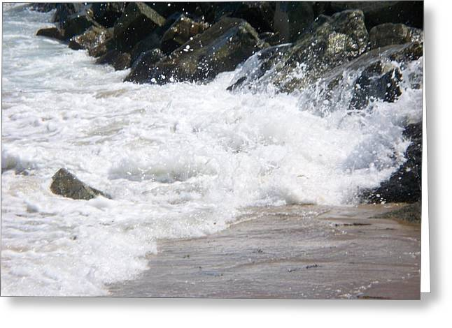 waves lapping at the rocks III Greeting Card by Rosanne Bartlett