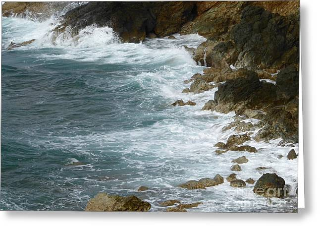 Waves Lashing Rocks Greeting Card
