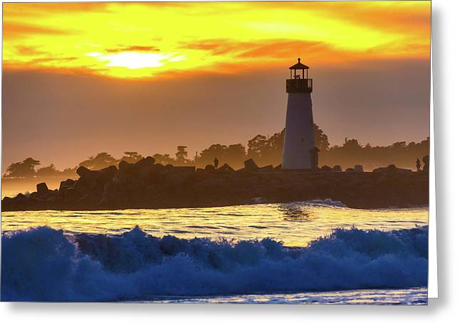 Waves Near Walton Lighthouse Greeting Card