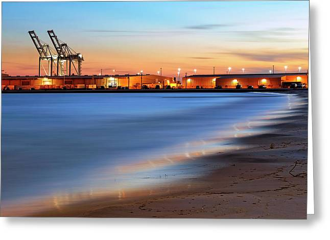 Greeting Card featuring the photograph Waves Of Industry - Gulfport Mississippi - Sunset by Jason Politte