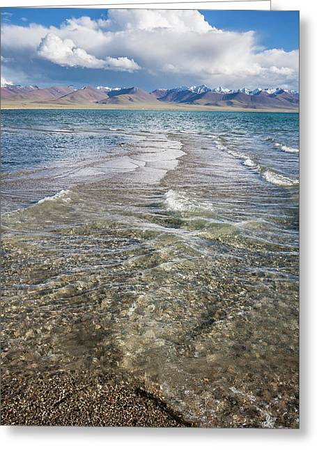 Greeting Card featuring the photograph Waves Of Namtso, Tibet, 2007 by Hitendra SINKAR