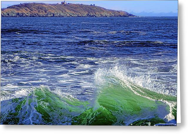 Waves Off Seguin Island Greeting Card by Olivier Le Queinec