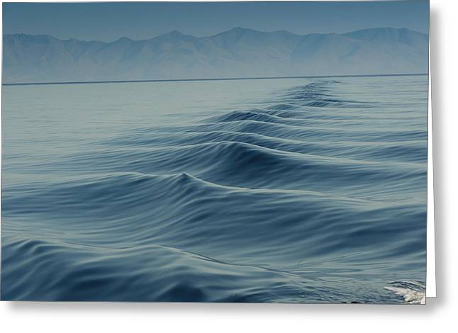 Waves On Aegean Sea Behind The Ship Greeting Card by Catalin Eremia