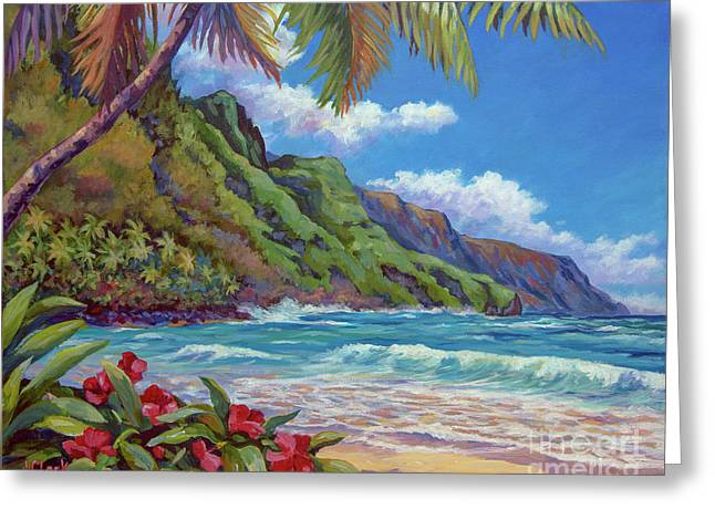Waves On Na Pali Shore Greeting Card