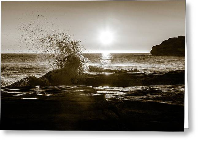 Greeting Card featuring the photograph Waves Over Cavendish Sandstone by Chris Bordeleau