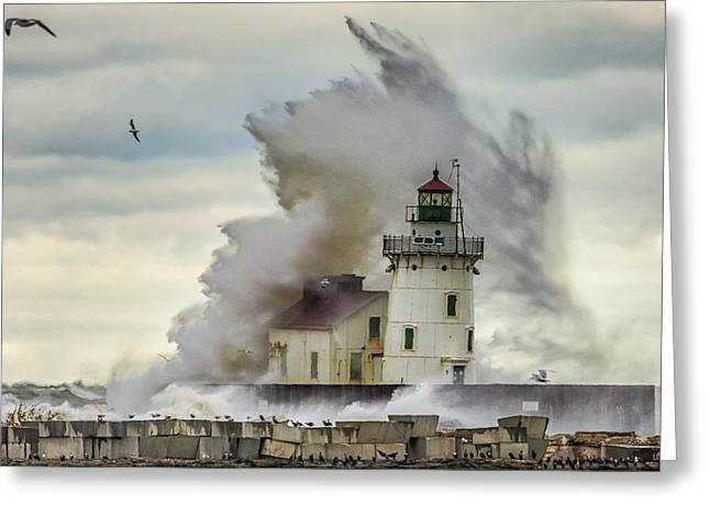 Waves Over The Lighthouse In Cleveland. Greeting Card