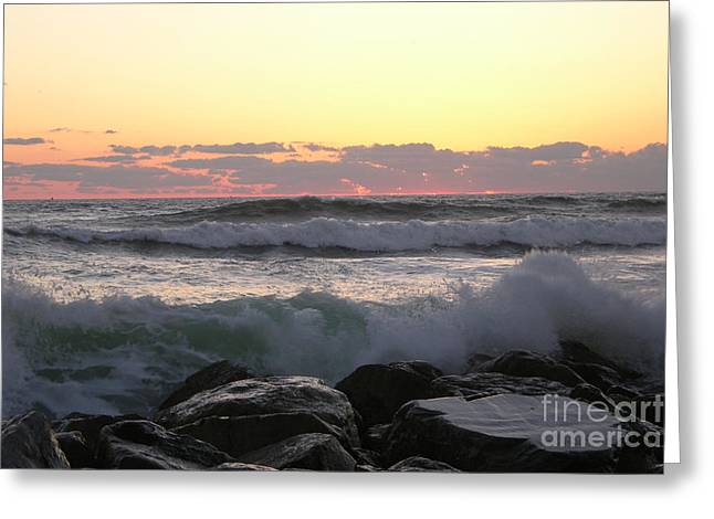 Waves Over The Rocks  5-3-15 Greeting Card