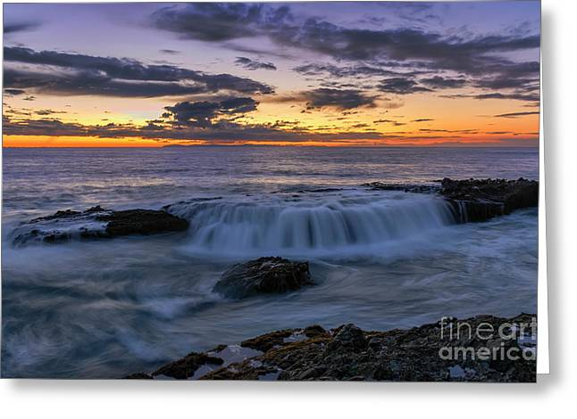 Wave Over The Rocks Greeting Card