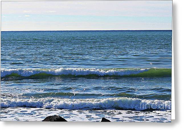 Waves Rolling In Greeting Card