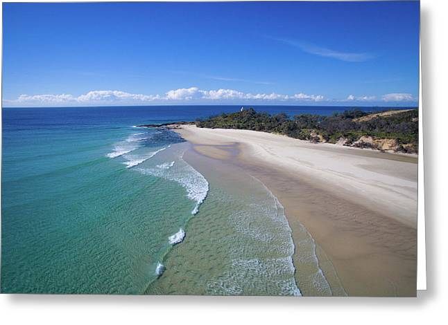 Waves Rolling In To North Point Beach On Moreton Island Greeting Card