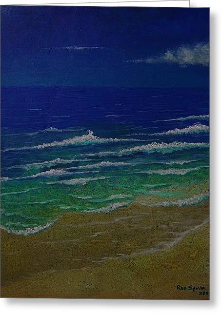 Waves Greeting Card by Ron Sylvia