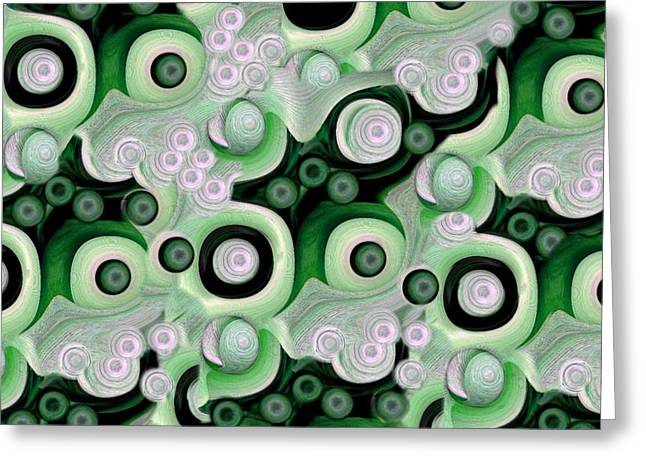 Waves Seashells Foam And Stones In Green Greeting Card by Jacqueline Migell