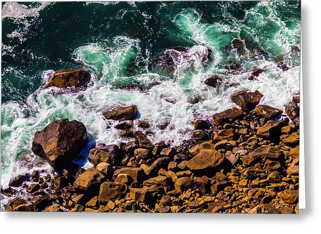 Waves Washing Up On Rocks Greeting Card by Garry Gay