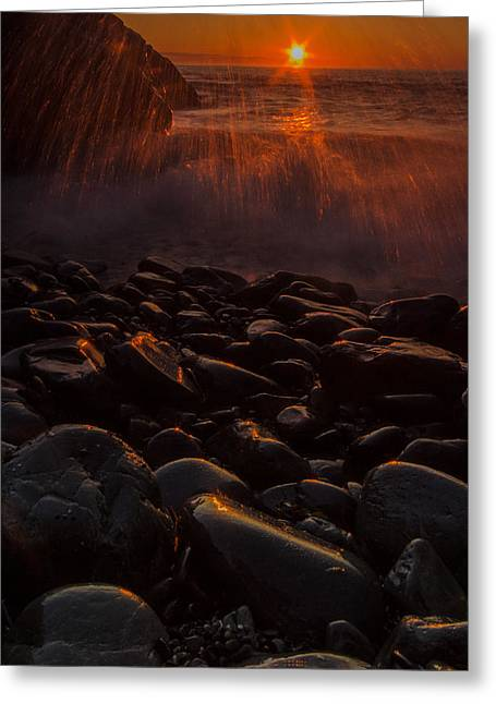 Waves And Sunrise Greeting Card by William Sanger