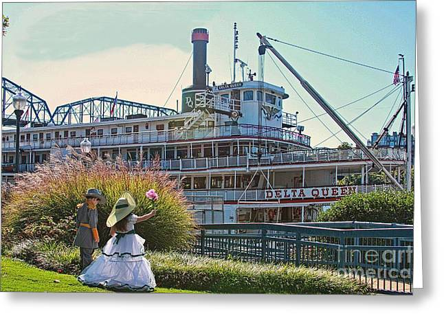 Waving At The Delta Queen Greeting Card