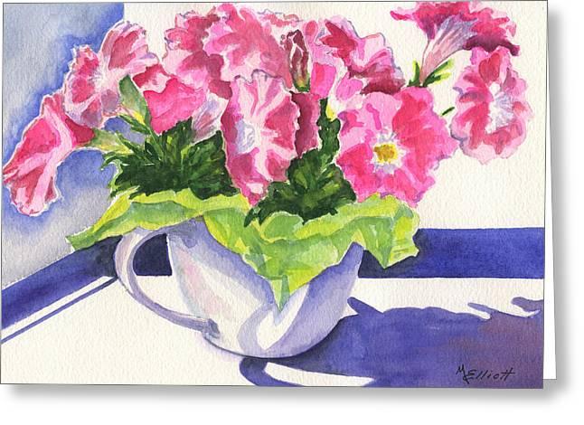 Petunia Greeting Cards - Waving Back to Jim Greeting Card by Marsha Elliott