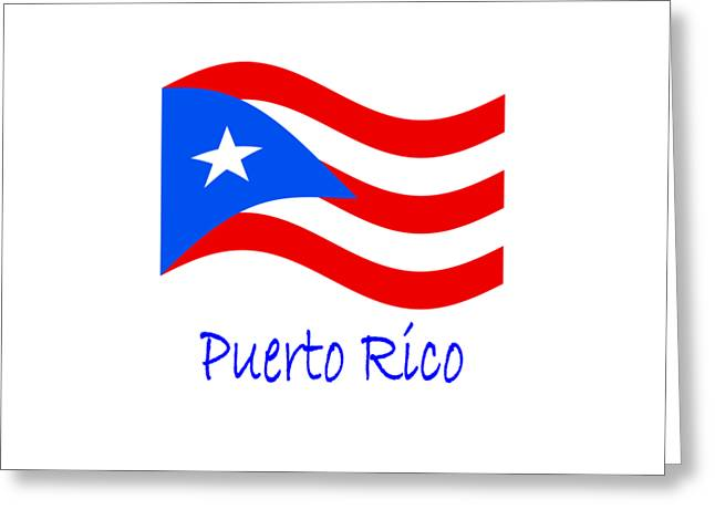 Waving Puerto Rico Flag And Name Greeting Card by Frederick Holiday