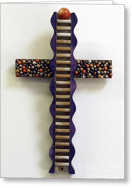Wavy Cross With Beads Greeting Card