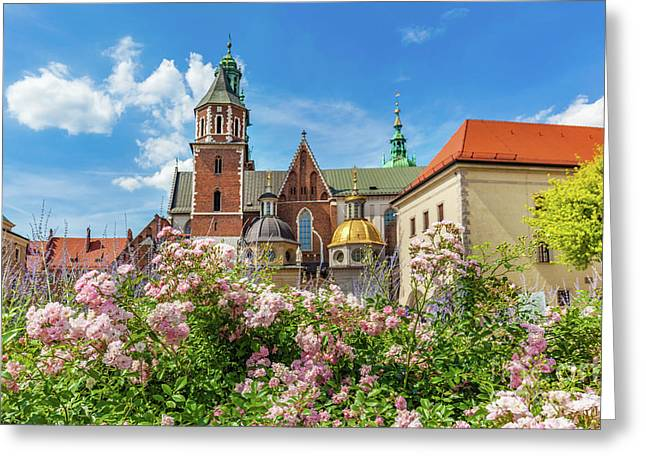 Wawel Cathedral, Cracow, Poland. View From Courtyard With Flowers. Greeting Card by Michal Bednarek